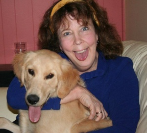 Funny picture of Sandy and dog Ryle with tongues out